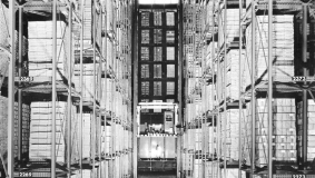 "The first high-bay warehouse at Kommissionshaus Buch und Ton, also known as the ""book silo"""