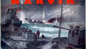 "Poster advertising the book ""Narvik - Vom Heldenkampf deutscher Zerstörer"" (Narvik - The Heroic Battle of German Destroyers)"