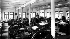 Workshop operations at the printing plant, around 1906