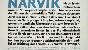 "Poster with a short synopsis of the novel ""Narvik"""