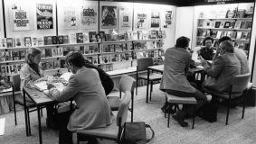 Bantam Books tradeshow booth at the 1979 Frankfurt Book Fair