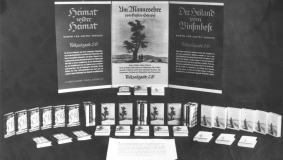 Shop window promotion for narrative fiction by Gustav Schröer