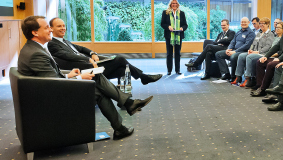Bertelsmann CEO Thomas Rabe and Chief HR Officer Immanuel Hermreck at the Group Dialog with the works councils, 2015