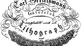 Business card recommending the lithographer Carl Bertelsmann, 1824