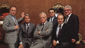 The new Bertelsmann Executive Board: Manfred Fischer, Mark Wössner, Hermann Hoffmann, Ulrich Wechsler, Egmont Lüftner and Hans Zopp (from l to r)