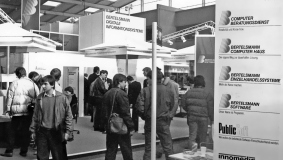 """Bertelsmann Digital Information Systems"" tradeshow booth at CeBIT 1987"