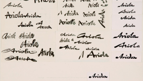 "First drafts for the wordmark of Bertelsmann's own recording label. In July 1958, ""Ariola"" is introduced to the public, complete with its own program."