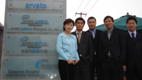 Managing Director Kevin Xu (center) and his team at Arvato Services, 2005