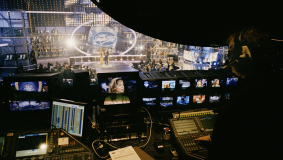 "View from the video control desk onto the stage of ""Deutschland sucht den Superstar"" (German Idol)"