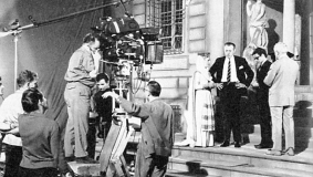 Ufa-Fernsehproduktion filming the teleplay Henry IV starring Horst Tappert in 1967