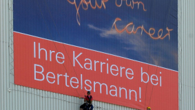 Large-scale advertising on the outside of the Arvato high-bay warehouse (An der Autobahn), 2008