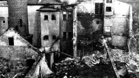 Large parts of the publishing plant are destroyed in an air raid in March 1945