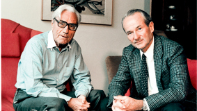 Lifelong friends: Reinhard Mohn, Chairman & CEO Bertelsmann AG and Dr. Gerd Bucerius (r), Verleger, Gruner+Jahr shareholder and Chairman of the Bertelsmann Supervisory Board, 1975