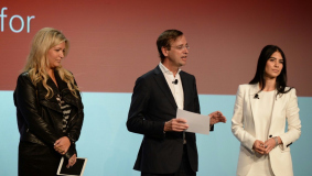Stephanie Horbaczewski (StyleHaul), Guillaume de Posch (RTL Group) and Shahrzad Rafati (Broadband TV), 2013 (from l to r)