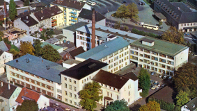 Aerial view at the rebuild Bertelsmann headquarter in the 1950s